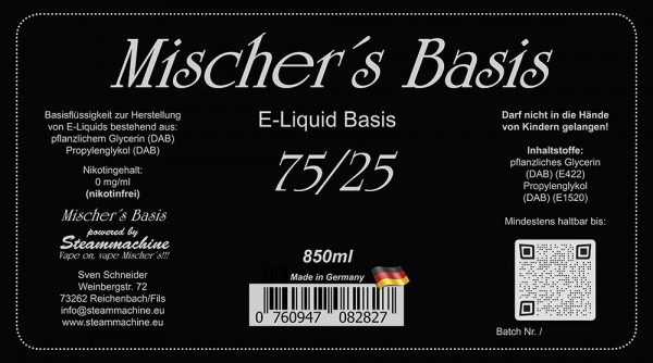 1000ml 3mg = 850ml Mischer´s Basis 75/25 + 15 80/20 Shots 10ml 20mg