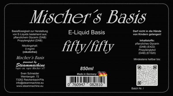 1000ml 3mg = 850ml Mischer´s Basis fifty/fifty + 15 fifty/fifty Shots 10ml 20mg