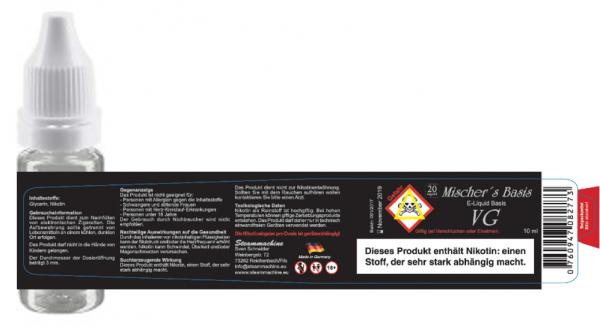 VG 10ml 20mg Mischer´s Basis Nikotinshot