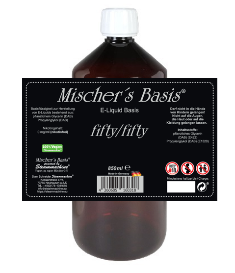 3mg Nikotin Basenbundle 1000ml Mischer´s Basis fifty/fifty Base Basen Bundle