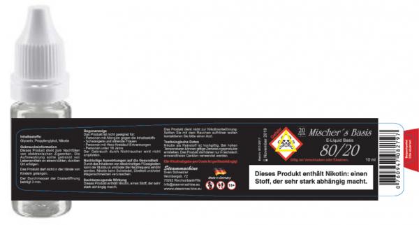 80/20 10ml 20mg Mischer´s Basis Nikotinshot