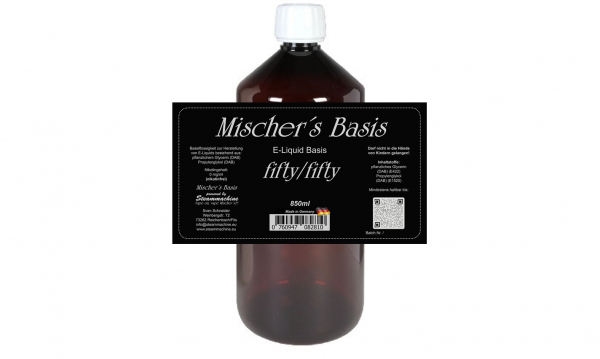 """850ml """"short filled"""" Mischer´s Basis fifty/fifty ohne Nikotin"""