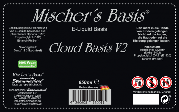 3mg Basenbundle 1000ml Mischer´s Basis Cloud Basis V2 Ethanol Base Basen Bundle