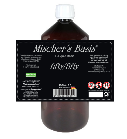 1000ml Mischer´s Basis fifty/fifty E-Liquid Base