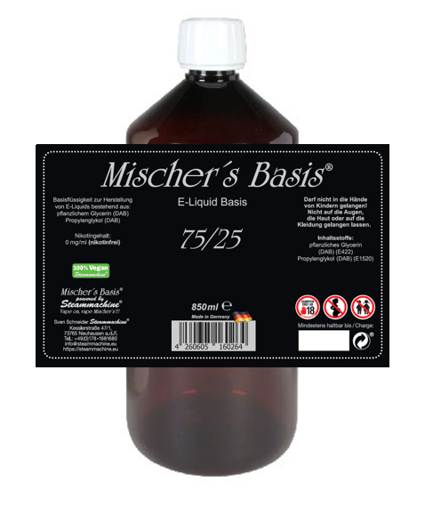 3mg Basenbundle 1000ml Mischer´s Basis 75/25 E-Liquid Base Basen Bundle
