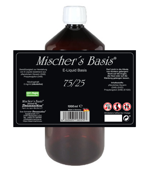 1000ml Mischer´s Basis 75/25  E-Liquid Base
