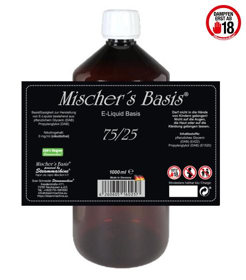 1000ml Mischer´s Basis 75/25 E-Liquid Base