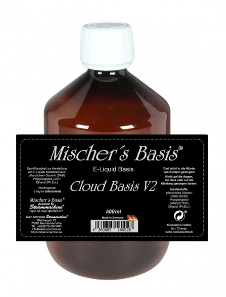 500ml Mischer´s Basis Cloud Basis V2 ohne Nikotin