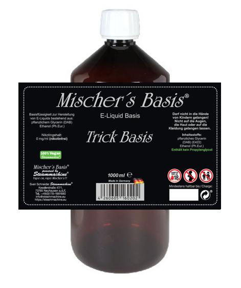 1000ml Mischer´s Basis Trick Basis VG Ethanol Base E-Liquid Base ohne PG