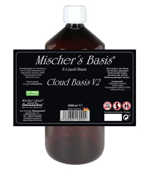 1000ml Mischer´s Basis Cloud Basis V2 Ethanol Base E-Liquid Base
